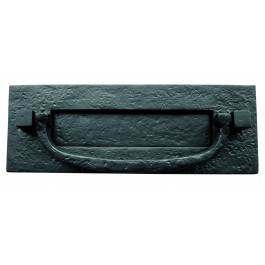 JAB46 - Letterplate With Knocker 310mm x 105mm - Black Antique