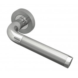 Twin Finish Designer Lever on Rose Jedo Door Handles in Polished Chrome & Satin Chrome- JV430PCSC