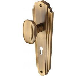 Heritage Brass Art Deco Charlston Sprung Mortice Knob Antique Brass