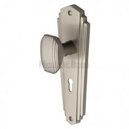 Heritage Brass Art Deco Charlston Sprung Mortice Knob Satin Nickel