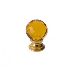 JH1256 Amber Coloured Glass Faceted Cupboard Knobs Jedo Polished Brass