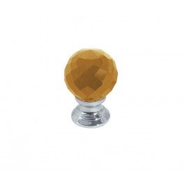 JH1256 Amber Coloured Glass Faceted Cupboard Knobs Jedo Polished Chrome