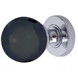 JH5206 Black Coloured Plain Ball Glass Sprung Mortice Knob Furniture Jedo