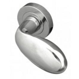 Club Paja Designer Lever on Rose Door Handle - Polished Chrome-Satin Chrome-JV721