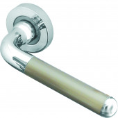 Olivia Designer Lever on Rose Jedo Door Handle - Polished Chrome/ Satin Nickel-JV466PCSN