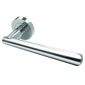 Roseta Designer Lever on Rose Door Handle - Satin Chrome & Polished Chrome-JV843