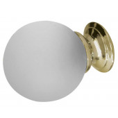 JH1156PB Plain Frosted Glass Ball Cupboard Knobs Jedo Polished Brass