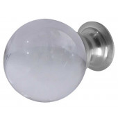JH1156SC Plain Frosted Glass Ball Cupboard Knobs Jedo Satin Chrome