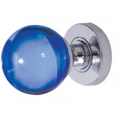 JH5207 Blue Coloured Plain Ball Glass Sprung Mortice Knob Furniture Jedo
