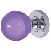 JH5209 Purple Coloured Plain Ball Glass Sprung Mortice Knob Furniture Jedo
