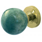 JH5212-PB Jade Green Marble Sprung Mortice Knobs Jedo Polished Brass