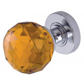 JH5256 Amber Coloured Faceted Sprung Mortice Knob Furniture
