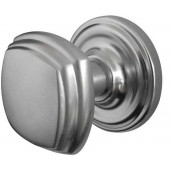 JV64-SC Art Deco Unsprung Mortice Door Knobs on Round Rose, Jedo Satin Chrome