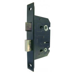 JL154BL -Bathroom Mortice Lock with Black Forend Plates