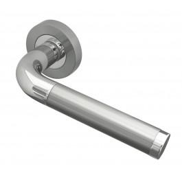 Twin Finish Designer Lever on Rose Jedo Door Handles in Polished Chrome & Satin Chrome- JV430PCSC