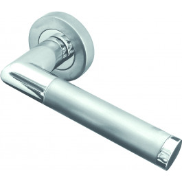 Mitred Designer Lever on Rose Jedo Door Handle - Polished Chrome/ Satin Chrome-JV435PCSC