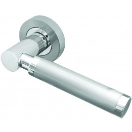 Avantime Designer Lever on Rose Jedo Door Handle - Polished chrome/ Satin Chrome-JV555PCSC