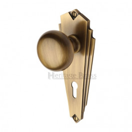 Heritage Brass Art Deco Broadway Sprung Mortice Knob Antique Brass