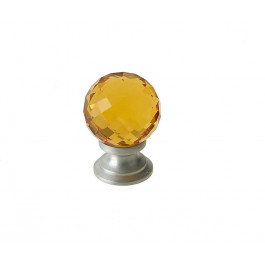 JH1256 Amber Coloured Glass Faceted Cupboard Knobs Jedo Satin Chrome