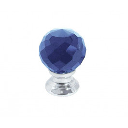 JH1258 Blue Coloured Glass Faceted Cupboard Knobs Jedo Polished Chrome,Satin Chrome & Polished Brass