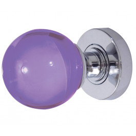 JH5209 Purple Coloured Plain Ball Glass Sprung Mortice Knob Furniture Jedo