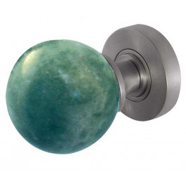 JH5212-SC Jade Green Marble Sprung Mortice Knobs Jedo Satin Chrome