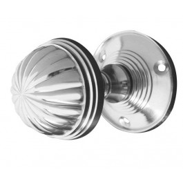 JV183M-PC Fluted Unsprung Mortice Knob on Round Rose Jedo Poilshed Chrome