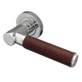 Ascot Paja Brown Leather Designer Lever on Rose Door Handle - Polished Chrome & Satin Chrome-JV4006