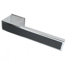 Ebony Reguitti Designer Lever on Square Rose Door Handle - Polished Chrome & Satin Chrome-JV425
