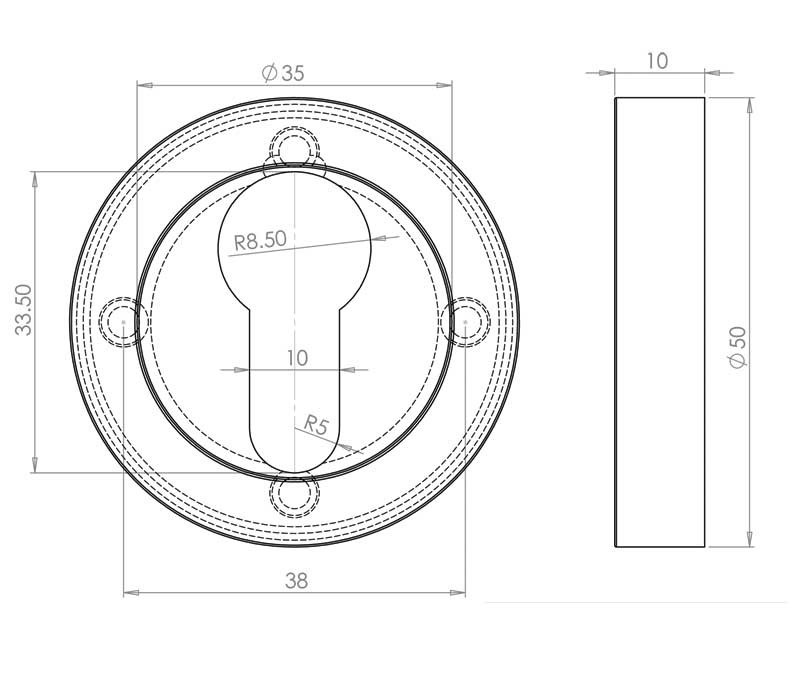 Jedo Euro Profile Keyhole Cover Escutcheon Polished Chromesatin