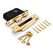 "TSS 5 lever British Standard BS3621 Mortice Sashlock TSSBSMSL3B  3"" Brass"