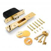 """TSS 5 lever British Standard BS3621 Mortice Deadlock TSSBSMDL3B  3"""" Brass"""