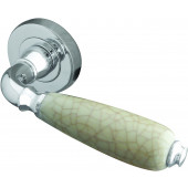 Oxford Cream Crackel China Lever on Rose Door Handle  - Cream Crackle China/ Polished Chrome-JC6003PC