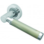 Charlotte Designer Lever on Rose Jedo Door Handle - Polished Chrome/ Satin Nickel-JV467PCSN