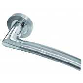 Lorenzo Designer Lever On Rose Door Handle - Polish Chrome/ Satin Chrome-JV861PCSC