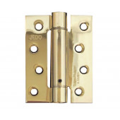 J9800 Polished Brass PVD BULK BUY Box of 10  Self-Closing Spring Hinge Fire Tested 30mins 102mm x 76mm Pack of 3 - Box of 10