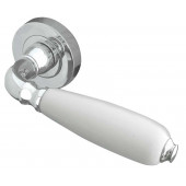 Oxford White China Lever on Rose Door Handle-Polished/chrome-JC6002PC