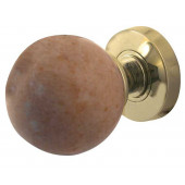 JH5213-PB Sunset Red Marble Sprung Mortice Knobs Jedo Polished Brass