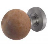 JH5213-SC Sunset Red Marble Sprung Mortice Knobs Jedo Satin Chrome