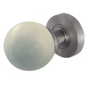 JH5214-SC White Marble Sprung Mortice Knobs Jedo Satin Chrome