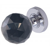 JH5257 Black Coloured Faceted Sprung Mortice Knob Furniture