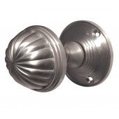 JV183M-SC Fluted Unsprung Mortice Knob on Round Rose Jedo Satin Chrome