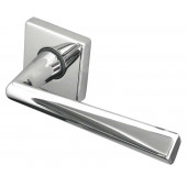 Rambo Reguitti Designer Lever on Square Rose Door Handle - Polished Chrome & Satin Chrome-JV409