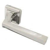 Mariani Klaudia Designer lever on Square Rose Door Handle- Polished Chrome & Satin Chrome -JV594