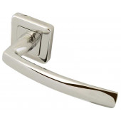 Mariani Baleno Designer Lever on Square Rose Door Handle- Polished Chrome & Satin Chrome-JV595