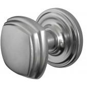 JV64-SC Art Deco Unsprung Mortice Door Knobs on Round Rose, Jedo Satin Chrome